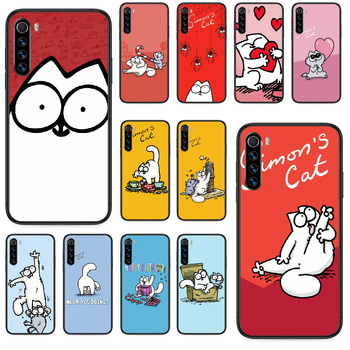 cartoon Simons cat Phone case For Xiaomi Redmi Note 4A 4X 5 6 6A 7 7A 8 8A 4 5 5A 8T Plus Pro black waterproof painting back image