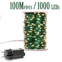 Самая длинная 1000 светодиодный гирлянда 100 м уличные сказочные огни уличная зеленая гирлянда с кабелем рождественское праздничное украшение