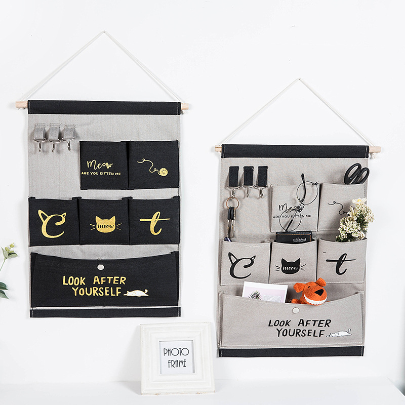 6 Pockets Wall Hanging Storage Bags Cotton Linen Door Organizer Waterproof Pouch Bedroom Home Wall Decoration Cat serie|Hanging Organizers| |  - title=