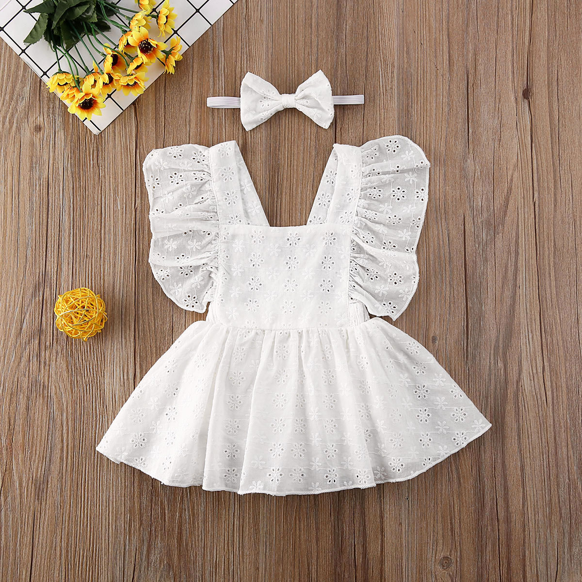 Pudcoco Newborn Baby Girl Clothes Solid Color Sleeveless Flower Ruffle Romper Dress Headband 2Pcs Outfits Cotton Clothes Set
