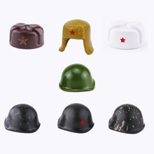 WW2 Military Soviet Union Helmet accessory building blocks Military Army Soldiers Figures Winter cotton hat Helmet blocks toys ww2 soviet army soldiers building blocks weapons antiaircraft gun tracked motorcycle accessory building blocks bricks toys