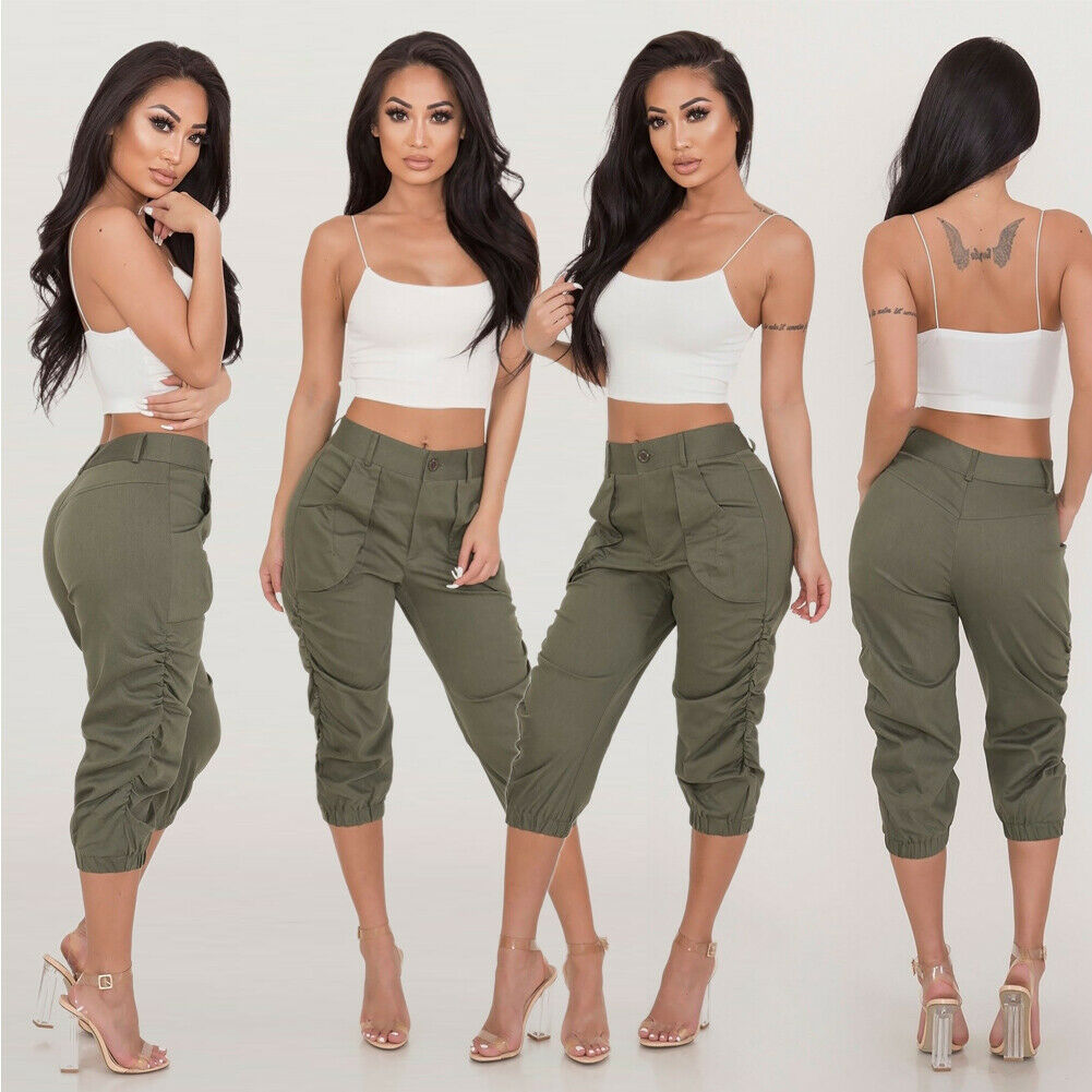 S-2XL Womens Cargo   Pants   High Waist Jogger Skinny Trousers Pockets Stretch Pleated   Capri   Length   pants   UK