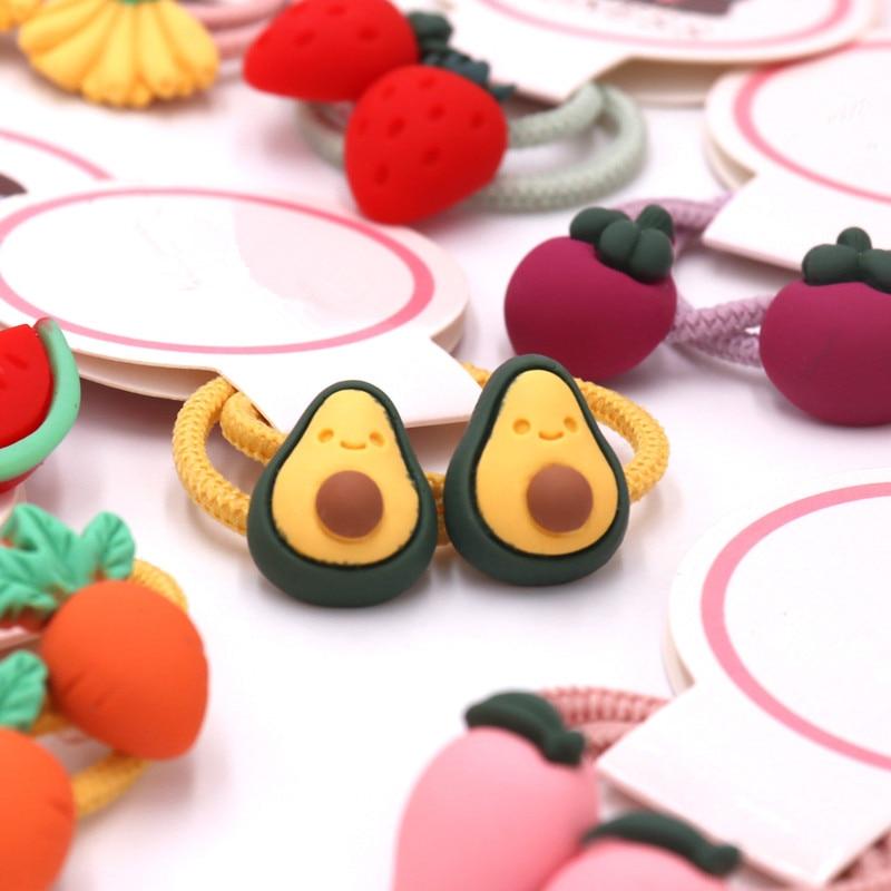 A Pair Cute Baby Hair Ring Avocado Fruit Headwear Small Head Rope Rubber Band Elastic Hairband Acrylic Children Hair Accessories