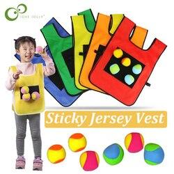 1 Juego de accesorios de juego Chaleco de Jersey pegajoso Chaleco de juego Chaleco con pelota pegajosa lanzar niños deportes al aire libre juguete ZXH