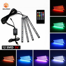 USB Car RGB Led Strip Light Neon LED Decorative Lamp Atmosphere Lights Wireless Remote/Music/Voice Control Car Interior Light 4pcs wireless remote control interior floor foot decoration light 12led car interior atmosphere rgb neon decorative lamp