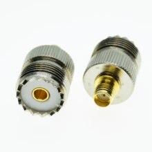A frequência ultraelevada pl259 so239 ao conector coaxial de sma jack fêmea da frequência ultraelevada para a tomada fêmea de sma uhf-sma adaptadores coaxiais retos do rf do bronze