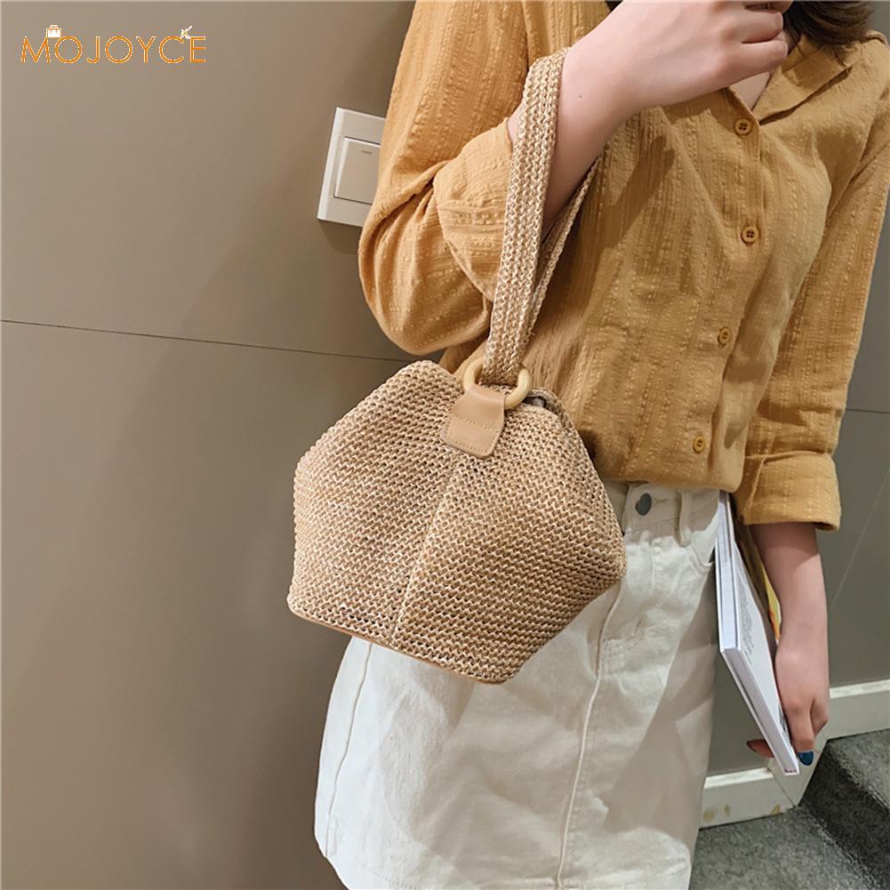 Casual Rattan Shoulder Messenger Bags Straw Handbags Big Capacity Handmae Summer Totes Lady Round Bohemian Beach Travel Purse