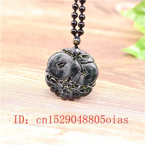 Colgante de palo de Jade chino negro verde Natural collar de obsidiana accesorios de joyería amuleto grabado regalos para hombres