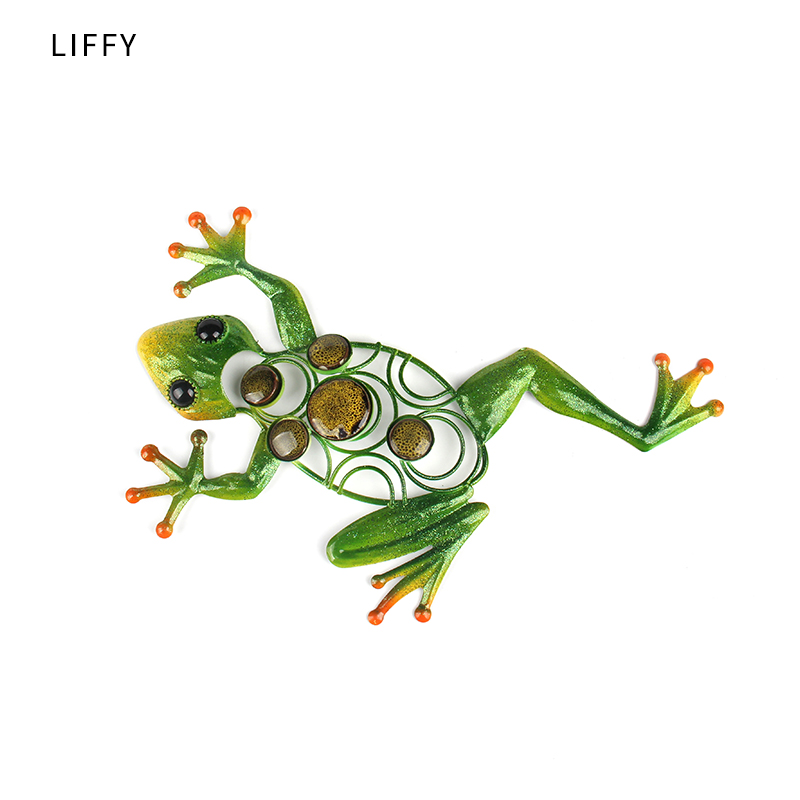 Liffy Metal Frog Wall Art Outdoor Decor for Home and Garden Decoration Statues Ornaments Sculptures Animal