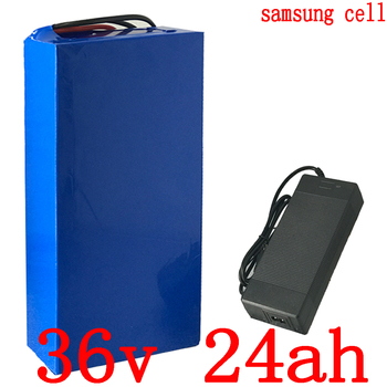 36V 500W 1000W battery 36V 25AH lithium battery use samsung cell 36V 24AH electric bicycle battery with 30A BMS+42V 2A charger image