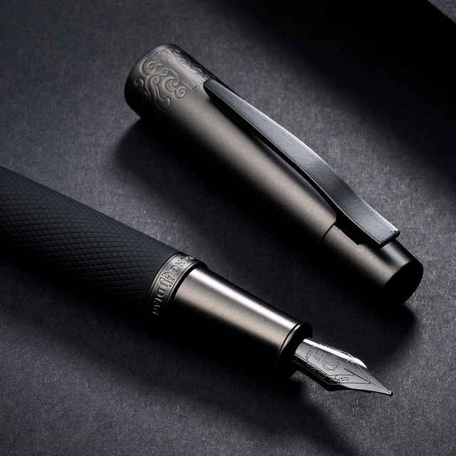 Hongdian 6013 Black Metal Fountain Pen Titanium Black EF/F/Bent Nib Gun-black Pen Cap Clip Excellent Business Office Gift Pen 3