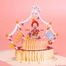 3D Three-dimensional Birthday Card Birthday Gift Girl Child Cake Greeting Card Postcard Greeting Classmate Friend Birthday Gift