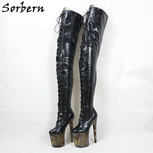 Image 5 - Sorben Snake Holo Crotch Thigh Boots Women For Stripper Dance High Heels Custom Wide Extreme Long Shaft Length Boots Crossdress