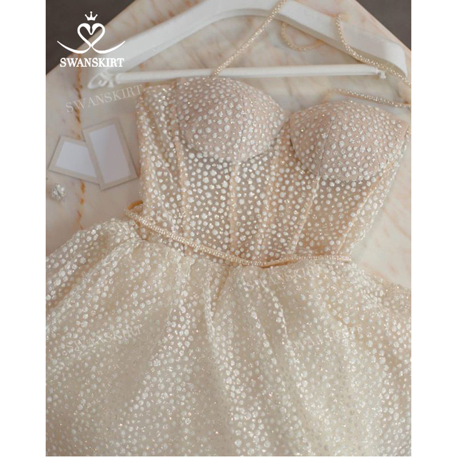 Shiny Sleeveless Wedding Dress 2021 New Beach Beaded A-Line Train Bridal Gown Princess SwanSarah L103 Plus Size Vestido De Novia 6