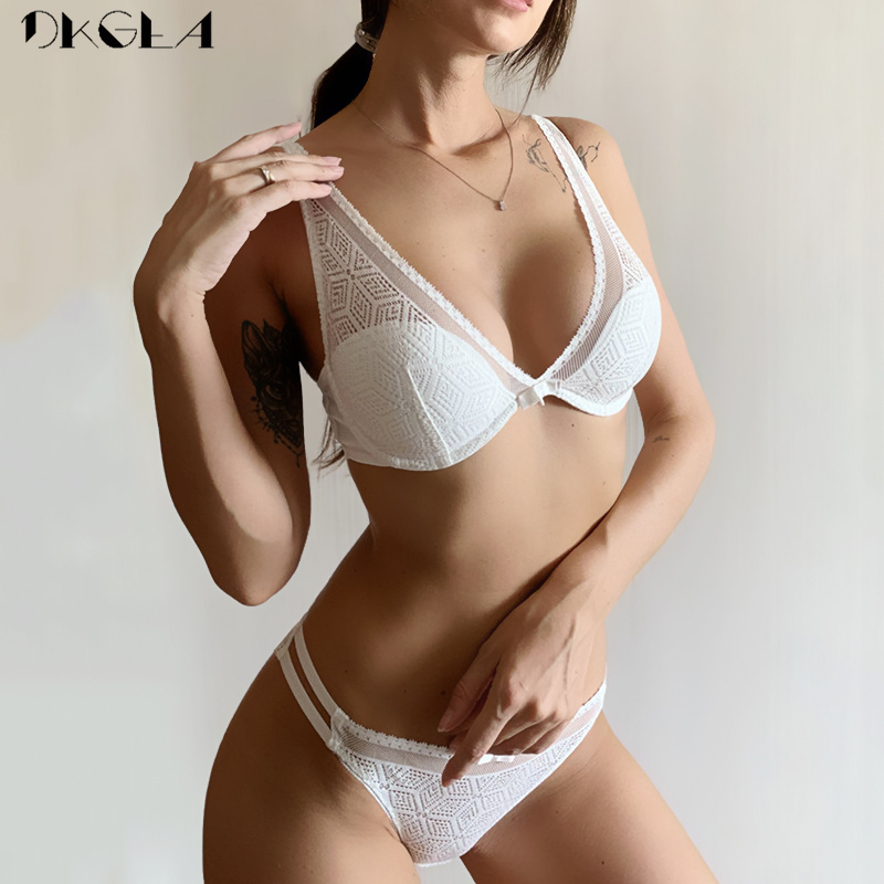 2020 Thin Cotton Bra Panties Sets White Women Lingerie Set Embroidery Hollow Brassiere A B C Cup Sexy Bras Lace Underwear Set 1