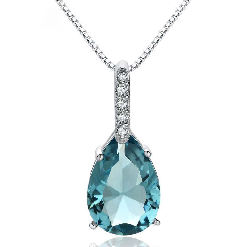Pure Natural Blue Topaz Pendant 925 Sterling Sliver Drop Pear-shaped Carat Necklace Colgantes De Wedding Bizuteria Pendant Women