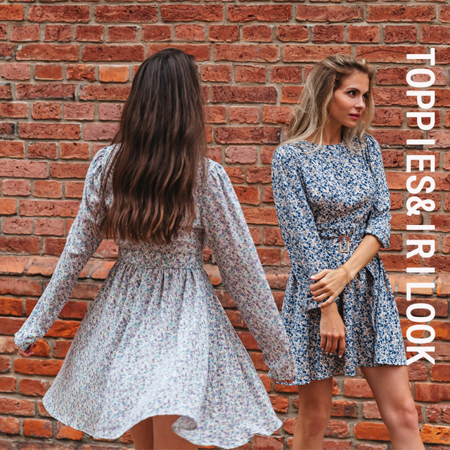 Toppies 2021 Mini Dress Print O Neck Long Sleeve Belt Sweet Crushed Floral Dress Casual Women Colorful Holiday Dress 3