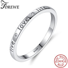 FOREWE 100% Authentic 925 Sterling Silver Live Love Life Letter Engrave Finger Ring for Women Wedding Engagement Jewelry(China)
