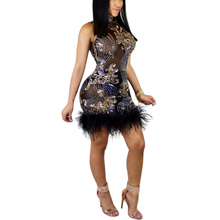 Ostrich Feather Sequin Dress For Women Stand Neck Sleeveless Short Dresses Elegant Lady Fashion Bodycon Vestidos