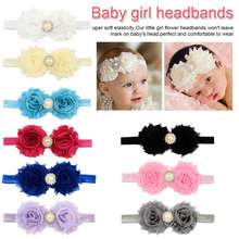 Newborn Stain Rose Pearl Lace Flower Hair Accessories Headwear Baby Rhinestone Headband Infant Children Gair