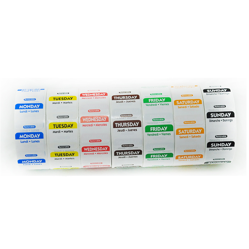 DaySpot HYDS-RL1x1 Each Day Of Week Removable Labels 1