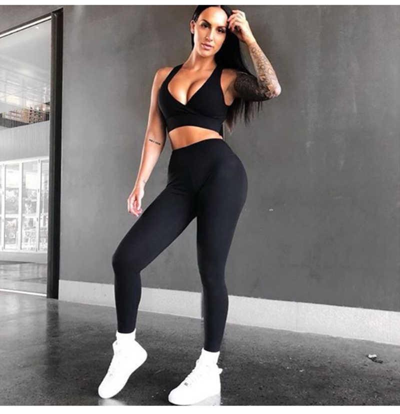 Nowy bez rękawów 2 sztuka siłownia zestaw odzieży sportowej kobiet legginsy spodnie Sexy Backless strój na trening i do fitnessu do biegania garnitury do jogi do biegania