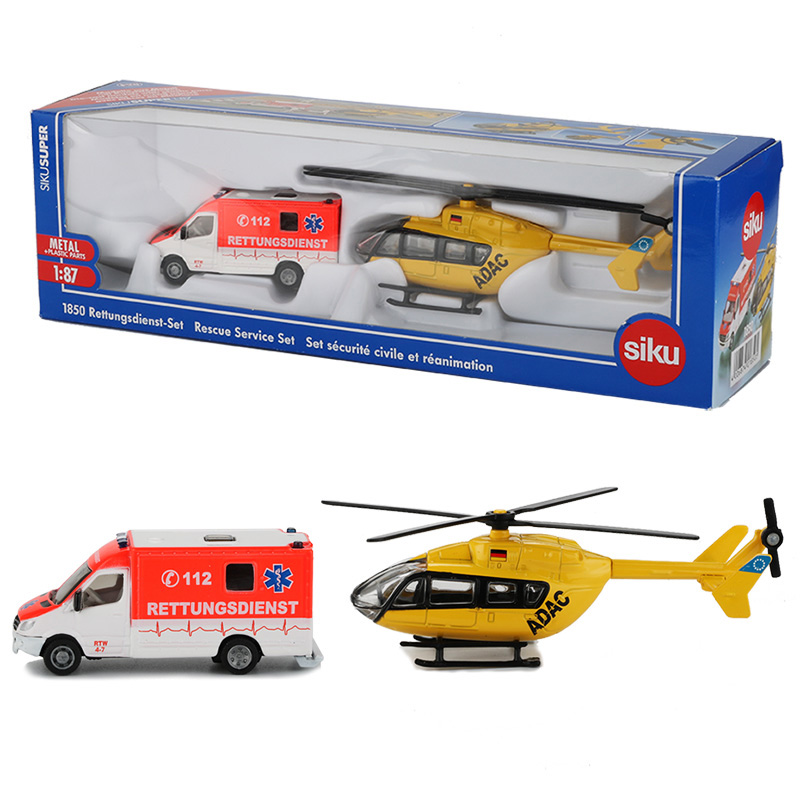 Siku 1:87 Ambulance Service Toy Ambulance Helicopter Model Rescue Team Aircraft Plain Lorry Models Toys For Children Collection