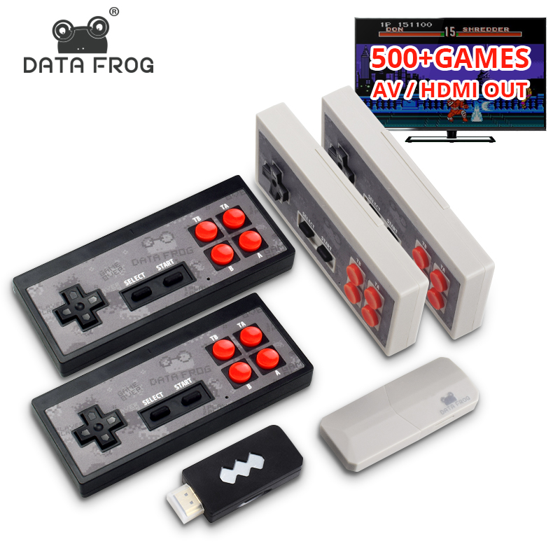 Data Frog Video Game Console USB 8 Bit TV Wireless Handheld Mini Game Console Build In 600 Classic Dual Gamepad HDMI AV Output