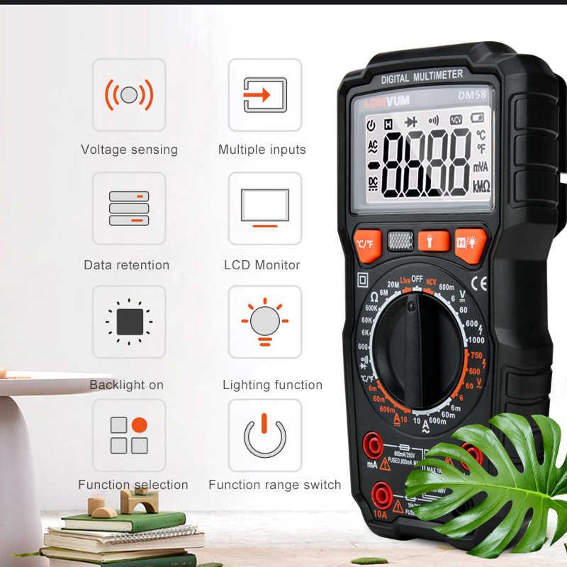 LOMVUM 멀티 미터 전문 AC DC 디지털 멀티 미터 전압계 테스터 미터 디지털 LCD 디스플레이 5999 Cunts 미터 테스터