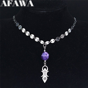2020 Boho Moon Vortex Goddess Natural Crystal Stainless Steel Necklaces Women Jewelry collares etnicos bohemios NC1994S04(China)