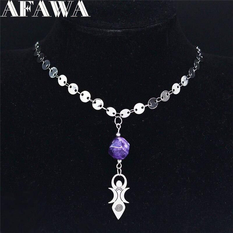 2021 Boho ay Vortex tanrıça doğal kristal paslanmaz çelik kolye kadınlar takı collares etnicos bohemios NC1994S04
