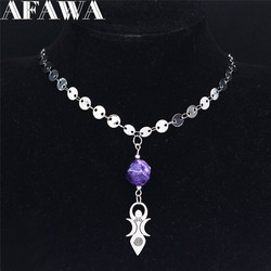 2021 Boho Moon Vortex Goddess Natural Crystal Stainless Steel Necklaces Women Jewelry collares etnicos bohemios NC1994S04