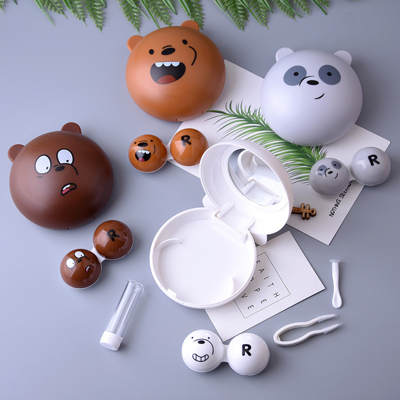 Cartoon Bear Contact Lens Case Cute Animal Contact Lens Care Suite Cute Lens Container For Women And Men