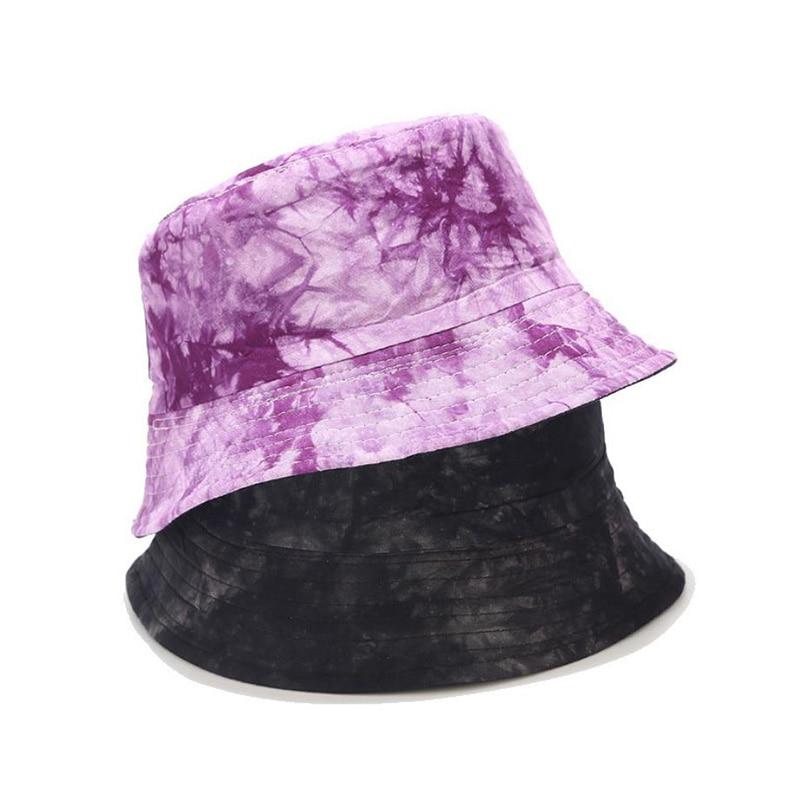 Double-sided Wearing Cap Visor Bucket Hat Men And Women Street Trend Hat Women Tie-dyed Ink Painting Pattern Fisherman Hat