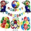 Воздушные шары «Супер Марио», зеленые и красные украшения для вечеринки в честь Дня Рождения 1, 2, 3, баннер для вечеринки «Baby Shower», шары в виде ...