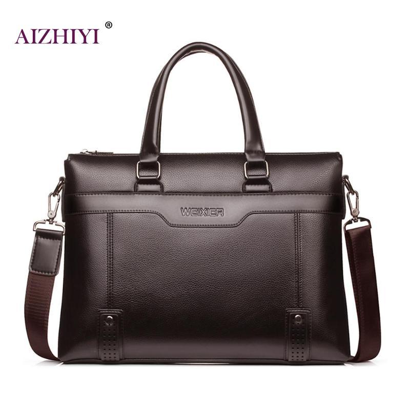 Fashion Simple Dot Famous Brand Business Men Briefcase Bag Leather Laptop Bag Male Crossbody Laptop Bag Travel Leather Handbag