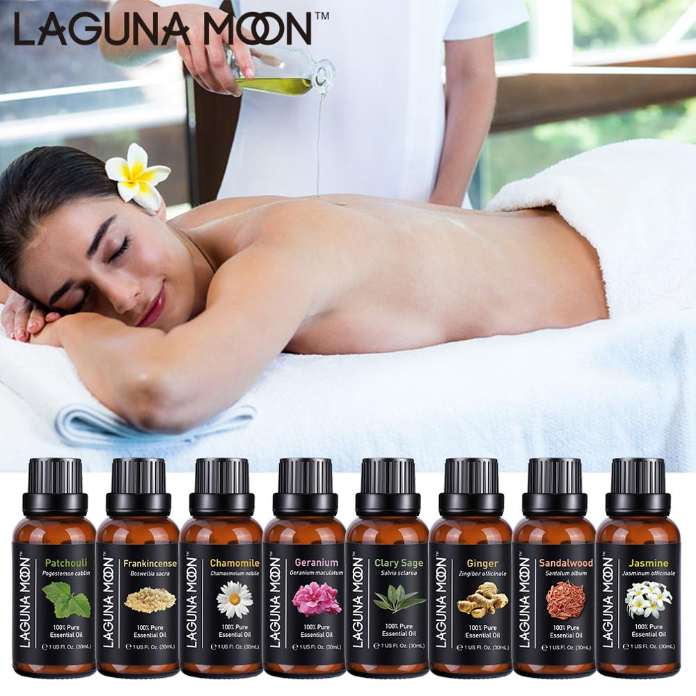 Lagunamoon Pure Essential Oils 30ML 1OZ Rose Tea Tree Massage Humidifier Peppermint Frankincense Lavender Jasmine Oil Essential