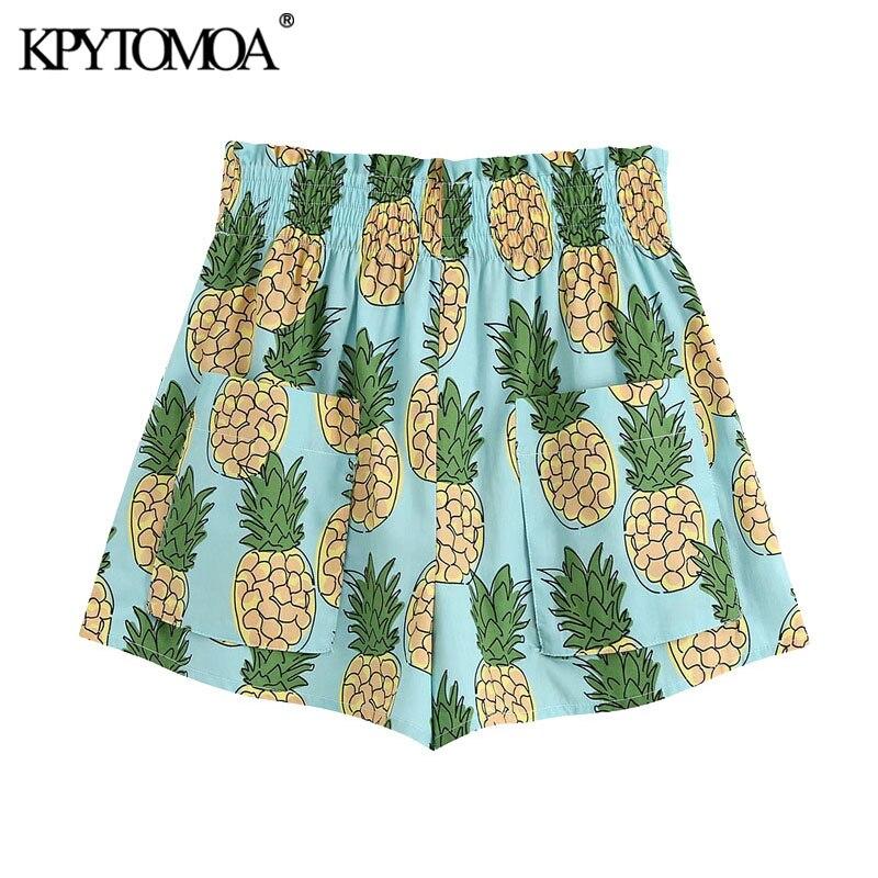 KPYTOMOA Women 2020 Chic Fashion Pineapple Print Shorts Vintage High Elastic Waist Patch Pockets Female Short Pants Pantalones