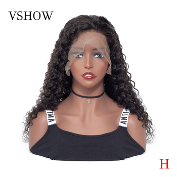 VSHOW 13*4 Peruvian Deep Wave Human Hair Wigs Natural Color 150% Remy Hair Lace Front Wig Pre Plucked With Baby Hair