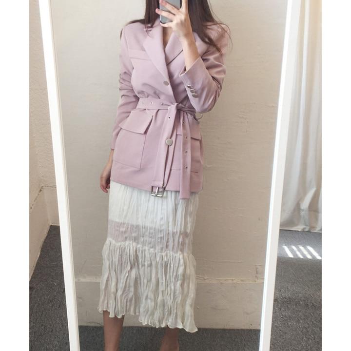 2019 automne col rabattu simple boutonnage Long Blazer cranté femmes élégant ceinture solide costume manteau Outwear veste ample