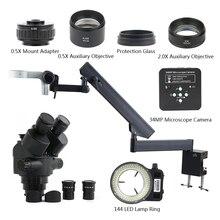 3.5X-90X Simul фокусное расстояние Тринокулярный Стерео микроскоп+ артикуляционный зажим+ 34MP 1080P HDMI USB видеокамера+ 144 светильник