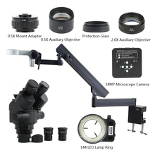 3.5X 90X Simul Focal Zoom Trinoculaire Stereo Microscoop + Scharnierende Arm Pijler Klem + 34MP 1080P HDMI USB video Camera + 144 Licht