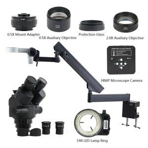 Image 1 - 3.5X 90X Simul Zoom Focal Microscope stéréo trinoculaire + bras articulé pilier pince + 34MP 1080P HDMI USB caméra vidéo + 144 lumière