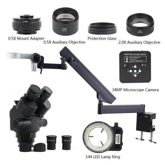 3.5X 90X Simul Zoom Focal Microscope stéréo trinoculaire + bras articulé pilier pince + 34MP 1080P HDMI USB caméra vidéo + 144 lumière
