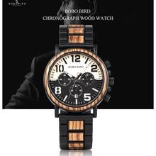 Wooden Watches Men Unique Dial Stopwatch BOBO BIRD Wristwatch Stainless steel Wi
