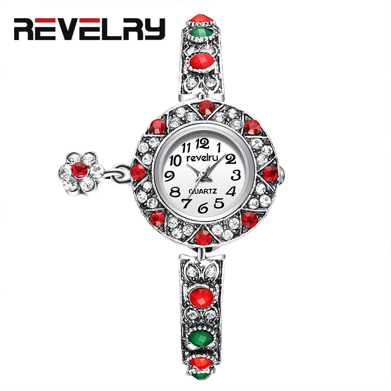 REVELRY Fashion Watches Women Luxury Crystal Red Diamond Bracelet Watches Rhinestone 2019 Ladies Quartz Watch Gifts For Women