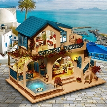 DIY Doll House Wooden Doll Houses Miniatures Dollhouse Furniture Kit With LED Baby Kid Assemble Toys For Children Christmas Gift