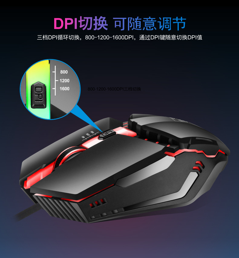 for PUBG mouse Mechanical feeling DPI 4 Buttons Ergonomic Design Gaming Mouse for Desktop PC Gamers LOL PUBG Fornite Overwatch image