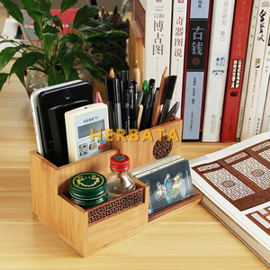 Image 2 - Multifunction Wooden & Bamboo Pen Pencil Holder Desktop Storage Box Retro Cosmetic Holder Creative Office Accessories CL 2524