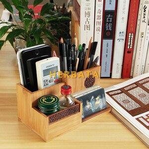 Image 2 - Çok fonksiyonlu ahşap ve bambu kalem kalemlik masaüstü saklama kutusu Retro kozmetik tutucu yaratıcı ofis aksesuarları CL 2524